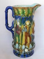 Antique Sandford Pottery Pitcher-English-1860-Blue Majolica-Military Figures-10