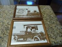 2 framed Photo Prints Pepsi Cola Coca Cola pictures vintage cars advertising