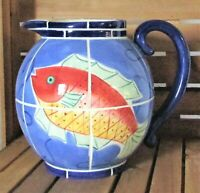 Clay Art Adriatic Blue Fish Tile Design Pitcher Hand Painted 1998 Beach Nautical