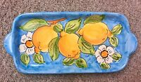 Vietri Pottery-11 X 5  inch Tray With Lemon.Made/Painted by hand in Italy