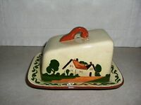 WATCOMBE, TORQUAY, MOTTOWARE, CHEESE DISH, TWO STORY COTTAGE PATTERN, 1920-1953