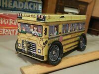 Musical School Bus METAL TIN Box Container [Wind-Up Mech.]