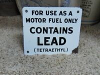 Antique Original Porcelain Single Sided Gas Pump Sign Contains Lead (Tetraethyl)