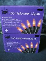 Orange Halloween String Lights Black Wire 100 Lights Each TWO Boxes
