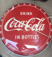 Vintage 1950s Drink Coca Cola In Bottles round advertising thermometer