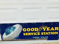 Rare Original 1930's Goodyear Good Wear Service Station Porcelain Sign