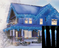 Hofert 10 Blue White Color Changing LED Icicle Outdoor String Lights Green Wire