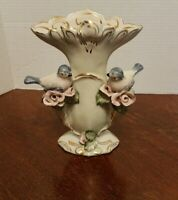 Majolica Blue Bird Vase porcelain with pink roses ornate gold painted
