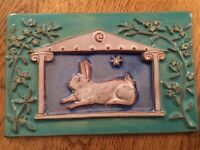 Bunny Rabbit signed Eartha pottery Parren Collery clay ceramic art wall tile