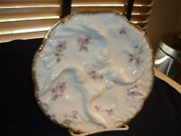 ANTIQUE FOUR WELL OYSTER PLATE/DISH/SERVER BY LIMOGES WITH PINK FLOWERS