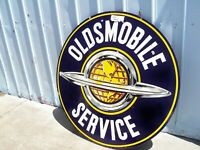 1930-1950's ORIGINAL OLDSMOBILE SERVICE DSP PORCELAIN DEALERSHIP SIGN 60 INCH