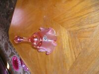 Vintage Fenton Glass Bell Pink/ Vela rose authentic hand Made--pretty glass bell