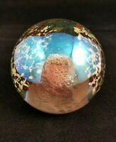 Vintage Signed Glass Eye Studio 1985 Mt St Helens Volcano Glass Paperweight Art