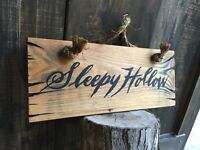 Halloween Old Sleepy Hollow Wood Sign Rope Rustic Primitive Antique Look 18 X 7