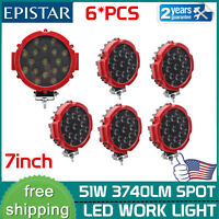 6x 51W 7inch Round Led Work Light SPOT Slim Driving Tractor ATV Forklift OffRoad