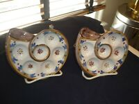 TWO VINTAGE FRENCH FAIENCE POTTERY HAND PAINTED OYSTER/ESCARGOT PLATES/DISH