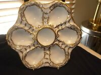 ANTIQUE DRESDEN OYSTER PLATE/DISH MARKED, EXCELLENT SHAPE.