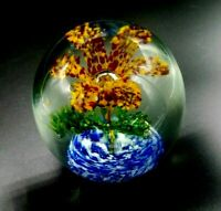 Vintage Hand Blown Red and Orange Floral Flower Art Glass Paperweight 3 5/8
