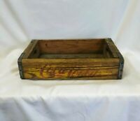 Vintage Early COCA COLA wood box Stacking CRATE Yellow USA MADE Antique Coke