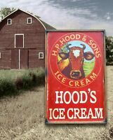Antique Style Hoods Ice Cream Dairy Cow Wood Printed Sign !! WOW 24x36