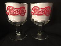 Vintage Red Pepsi Cola Clear Glass Thumbprint Goblets Glasses - Heavy - 12oz
