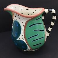 RARE HAND PAINTED DROLL DESIGNS WATER PITCHER GORGEOUS By Jean Townsend