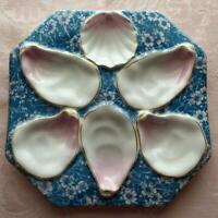 Antique Octagonal Oyster Plate, Turquoise Chintz Background