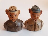Vintage Mexican Redware Pottery Folk Art Pigs Salt Pepper Federales or Soldiers