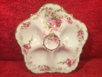 Oyster Plate Authentic Antique Limoges Roses & Morning Glories c1900-1914, op482