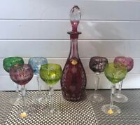 Bleikristall Crystal Bohemian Cut to Clear Wine Glasses (7) & Decanter R Kunze