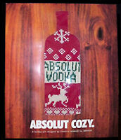 Absolut Vodka Bottle Sweater Cozy Christmas Gift Designed By Cynthia Rowley MINT