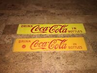 2 unused new old stock yellow Vintage Coca Cola coke Sign Crate slat side art