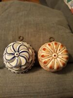 2 Vintage ABC BASSANO Ceramic Hand Painted Wall Hanging Mold - ITALY Blue/Orange