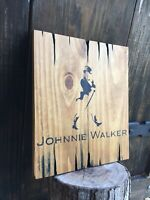 Johnnie Walker Black Label Wood Sign Whiskey Bar Antique Look Barrel Distillery