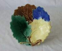 Antique 4 Color Majolica Leaf Bowl Griffin, Smith, Hill