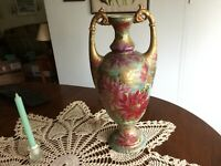 Antique Pre Nippon Hand Painted Large Bolted Vase Urn Water Lilies Beaded