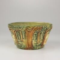Weller Pottery Small Forest Bowl, Brown/Green/Multicolor Forest Scene