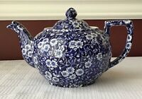 Antique Crownford China Co. Staffordshire Calico Blue Porcelain Teapot
