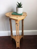 Primitive Irish Shamrock Farmhouse Pine Torchere Plant Stand Jardiniere Table