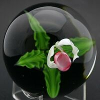 HUGE Splendid LUNDBERG STUDIO Colorful LADY SLIPPER ORCHID Art Glass PAPERWEIGHT