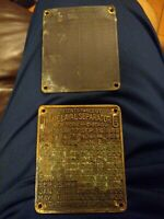 DeLaval Separator Co New York 1906 & 1928 Equipment Tag Nameplate Small sign n44
