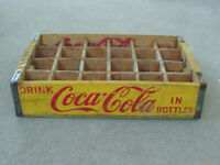 Vintage 1963 Chattanooga  Yellow Coke Coca Cola Wood Soda Crate 24 Dividers