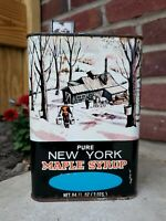 Pure Maple Syrup Vintage 1970's Empty Half Gallon Tin Can Container NY USA