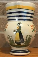 """Antique Henriot Quimper France Tin Glazed Faience 6"""" Tall Pitcher"""
