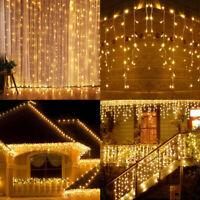 96-1500 LED Fairy Icicle String Curtain Lights Wedding Party Xmas Decor Outdoor