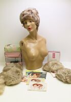 Vintage 1950's Female Painted Mannequin Torso Bundle With Wigs And Hair Nets Lot