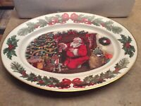 The Night Before Christmas Santa Large Oval Platter Franklin Mint 1990