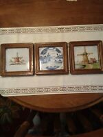 3 Holland Wood Framed Hand Painted 5