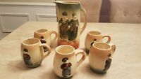 ROSEVILLE HOLLAND Pitcher Tankard And 5 Mugs Set Before 1916.