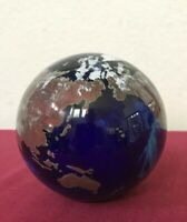 Lundberg Studios Glass World Earth Globe Paperweight 1997 Knoesen Signed Lrg 4""